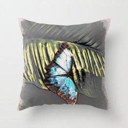 Blue Morpho Butterfly Banana Leaf Throw Pillow