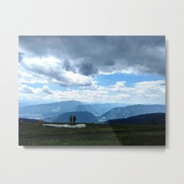 Paragliders & Blue Mountains Metal Print