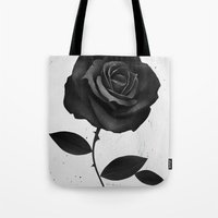 rose Tote Bags featuring Fabric Rose by Ruben Ireland