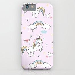 Unicorn & Rainbows Light Pink iPhone Case