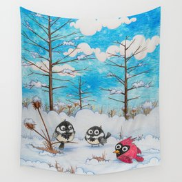 Winter: Two Chickadees and a Cardinal Wall Tapestry