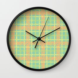 8 Bit plaid |Springtime Wall Clock