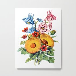Two Large Daisy's, Antique Heirloom Flower Bouquet Original Aquatint Watercolor PNG 7 Metal Print