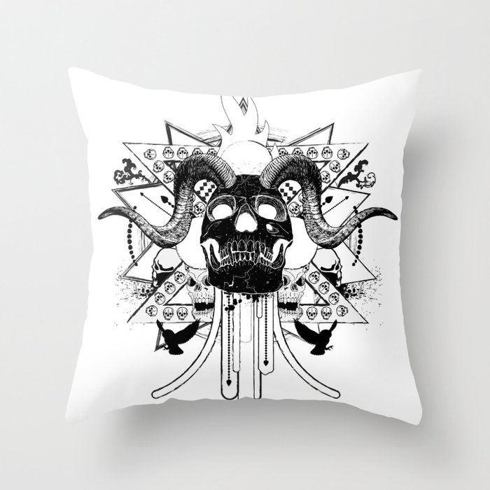 Rock Horned Skull Graphic  Throw Pillow