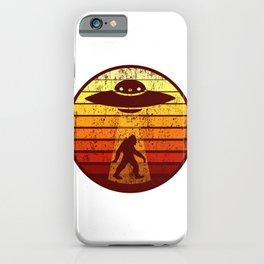 UFO AND BIGFOOT Retro Sci-Fi Alien Space Gift iPhone Case