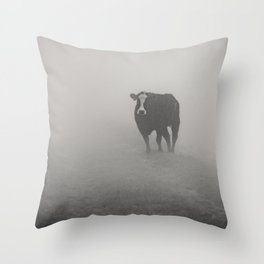 Wandering bovine above the mist Throw Pillow