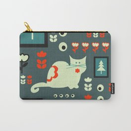 White cat and holiday decor Carry-All Pouch