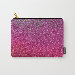 Modern pink purple ombre faux glitter color block Carry-All Pouch