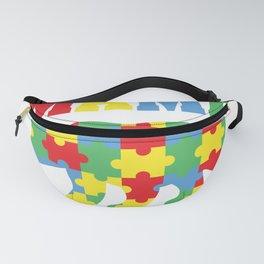 Mama Bear Autism Awareness Puzzle Pieces Fanny Pack