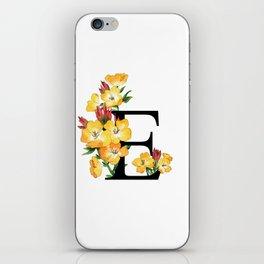 Letter 'E' Evening Primrose Flower Monogram Typography iPhone Skin