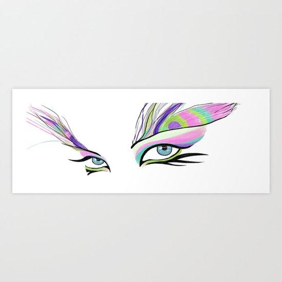Peacock White  Art Print