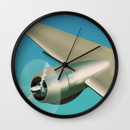 Travel the world - Go by air vintage poster Wall Clock