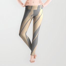 Bisque and Dark Grey Colored Stripes Pattern Leggings
