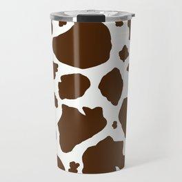 cow spots animal print dark chocolate brown white Travel Mug