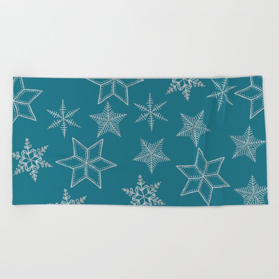 Silver Snowfakes On Teal Background Beach Towel