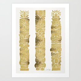 Tiki Totems – Gold Palette Art Print
