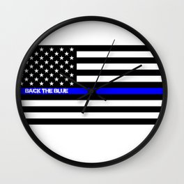 Back the Blue Thin Blue Line Wall Clock