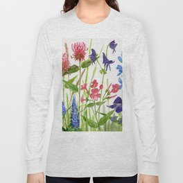 Garden Flowers Botanical Floral Watercolor on Paper Long Sleeve T-shirt