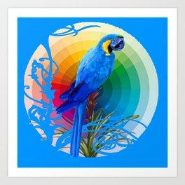 DECORATIVE CERULEAN BLUE MACAW  COLORFUL ART Art Print
