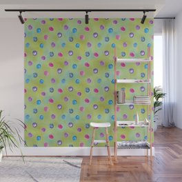 Watercolor washed yellow aqua blue with hot pink and teal drops Wall Mural