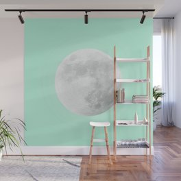 WHITE MOON + TEAL SKY Wall Mural