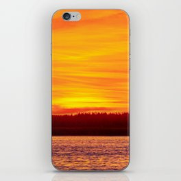 Fiery sunset on the Pike lake iPhone Skin