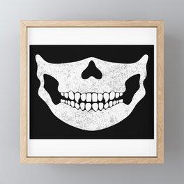 Skull Face Black and White Framed Mini Art Print