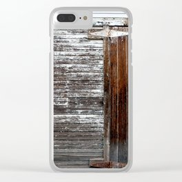 Brown and White Door Clear iPhone Case