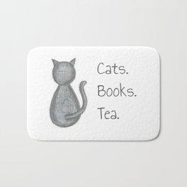 Cats. Books. Tea. Bath Mat