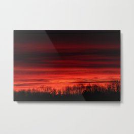 Red Sunrise with Tree Silhouettes  Metal Print