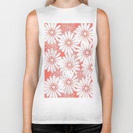 Summer Flowers Living Coral Biker Tank