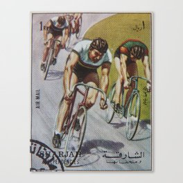 postage stamp with velosepedistami. sports, vintage Canvas Print