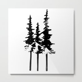 Trees and Compass Metal Print