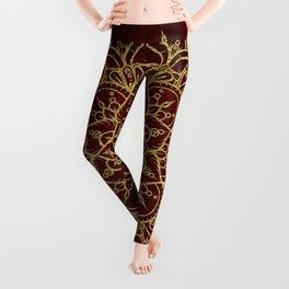 Deep Red & Gold Mandala Leggings