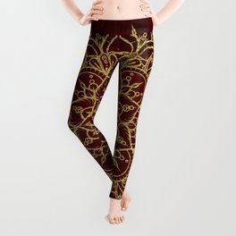 Deep Red & Gold Mandala Leggings