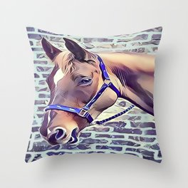 Brown Horse with Harness Throw Pillow