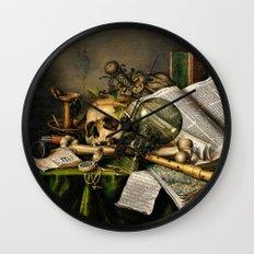 Vintage Vanitas- Still Life with Skull Wall Clock