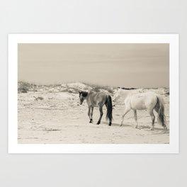 Wild Horses 6 - Black and White Art Print