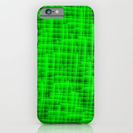 Square intersections green lines on a dark tree. iPhone Case