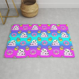 Cute funny Kawaii chibi pink little playful baby kittens, happy sweet donuts and adorable colourful yummy cupcakes seamless rainbow pattern design. Nursery decor ideas. Rug