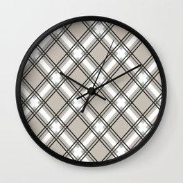 Black, Grey and White Criss-Cross Plaid Pattern Wall Clock