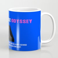 2001 a space odyssey Mugs featuring 2001: A Space Odyssey Movie Poster by FunnyFaceArt