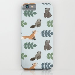 Woodland Creatures Pattern iPhone Case