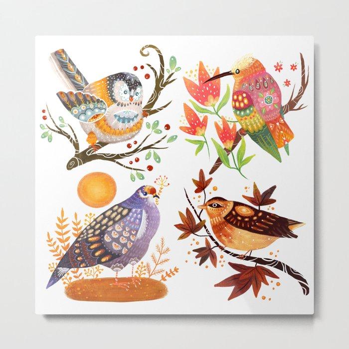 Seasonal Birds Metal Print