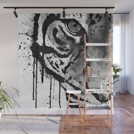 Black And White Half Faced Tiger Wall Mural