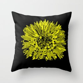 Stamped Wildflower in Yellow and Black Throw Pillow