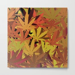 Marijuana Cannabis Weed Pot Autumn Theme Metal Print