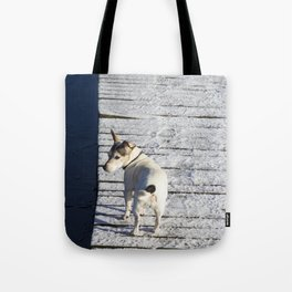 Dog going home Tote Bag