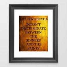 Hamilton - The Sinners and The Saints Framed Art Print