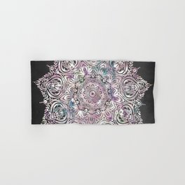 Dreams Mandala - Magical Purple on Gray Hand & Bath Towel